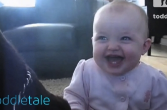 Baby Girl Laughing Hysterically at Dog Eating Popcorn   Laughing Babies   toddletale