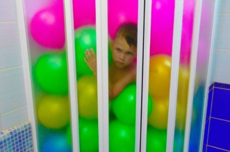 Funny Baby Prank Bad baby learn colors with Balls in the shower, Finger family nursery rhyme song